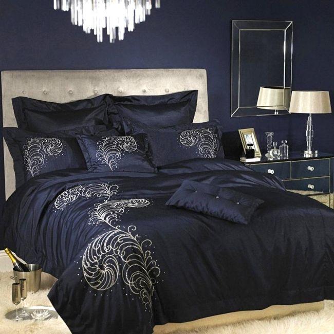 luxus bettwäsche kylie minogue satin polyester federn dunkelblau