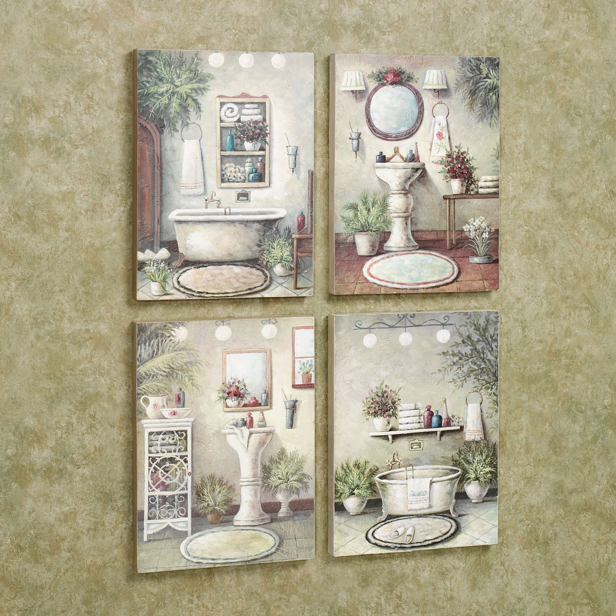 Interior Bathroom Pictures For Wall bathroom bliss wooden wall art plaque set multi warm of four