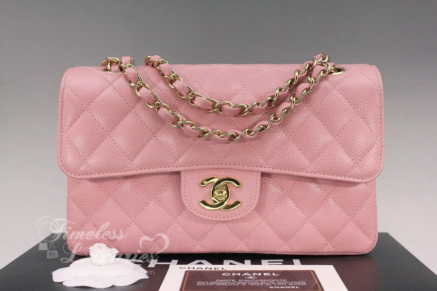7f56e8aef3cd21 CHANEL Pink Caviar Classic Double Flap Bag Gold Hw | Chanel pink ...
