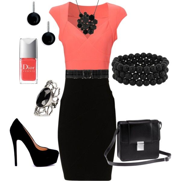 """""""Black & Coral"""" by firefly7522 on Polyvore"""