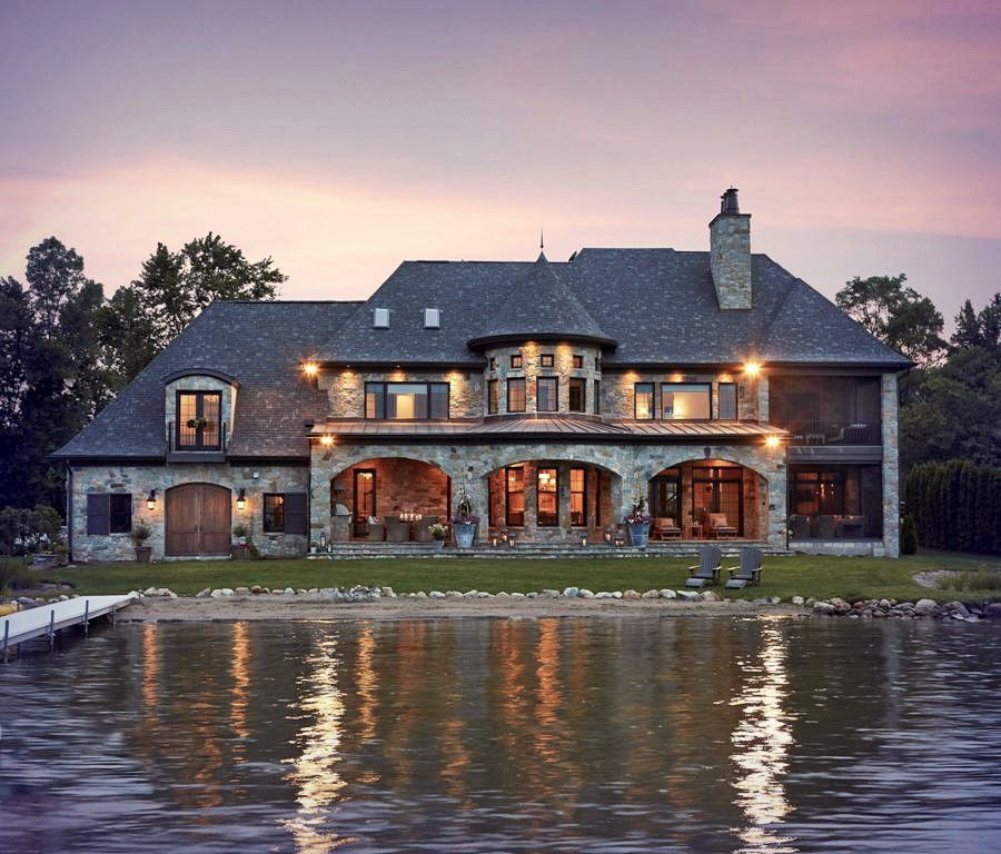 Midwest Luxury Lake Homes: French Country Lake House