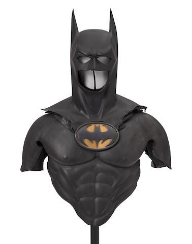 A Batman Forever Batman Cowl Shoulders Chest And Bat Symbolwarner Bros 1995 Comprising A Black Foam Rubber Batman Cowl With Batman Cowl Batman Bat Symbol