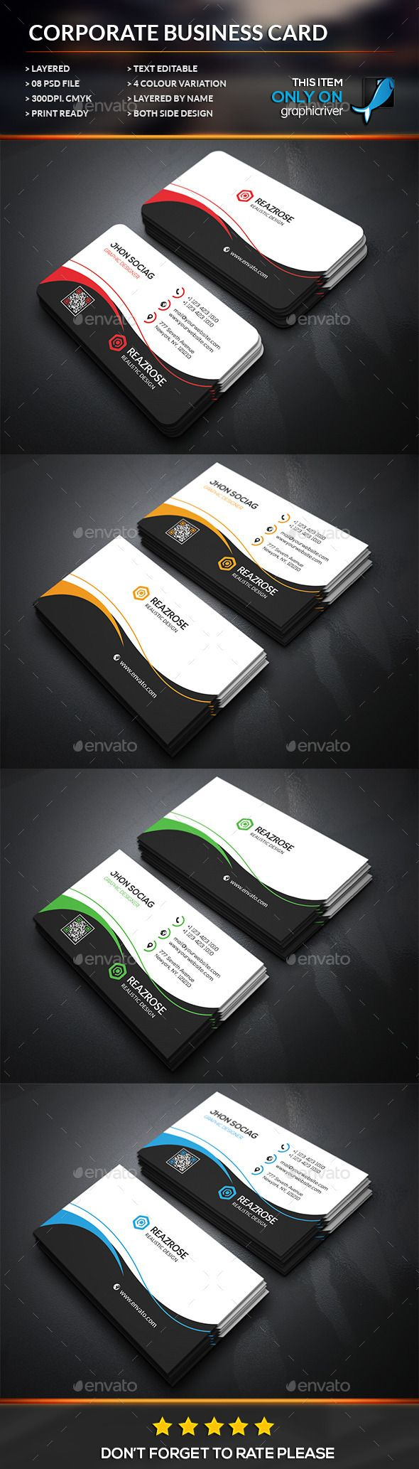 Half Round Business Card Corporate Business Cards Business - Round business card template