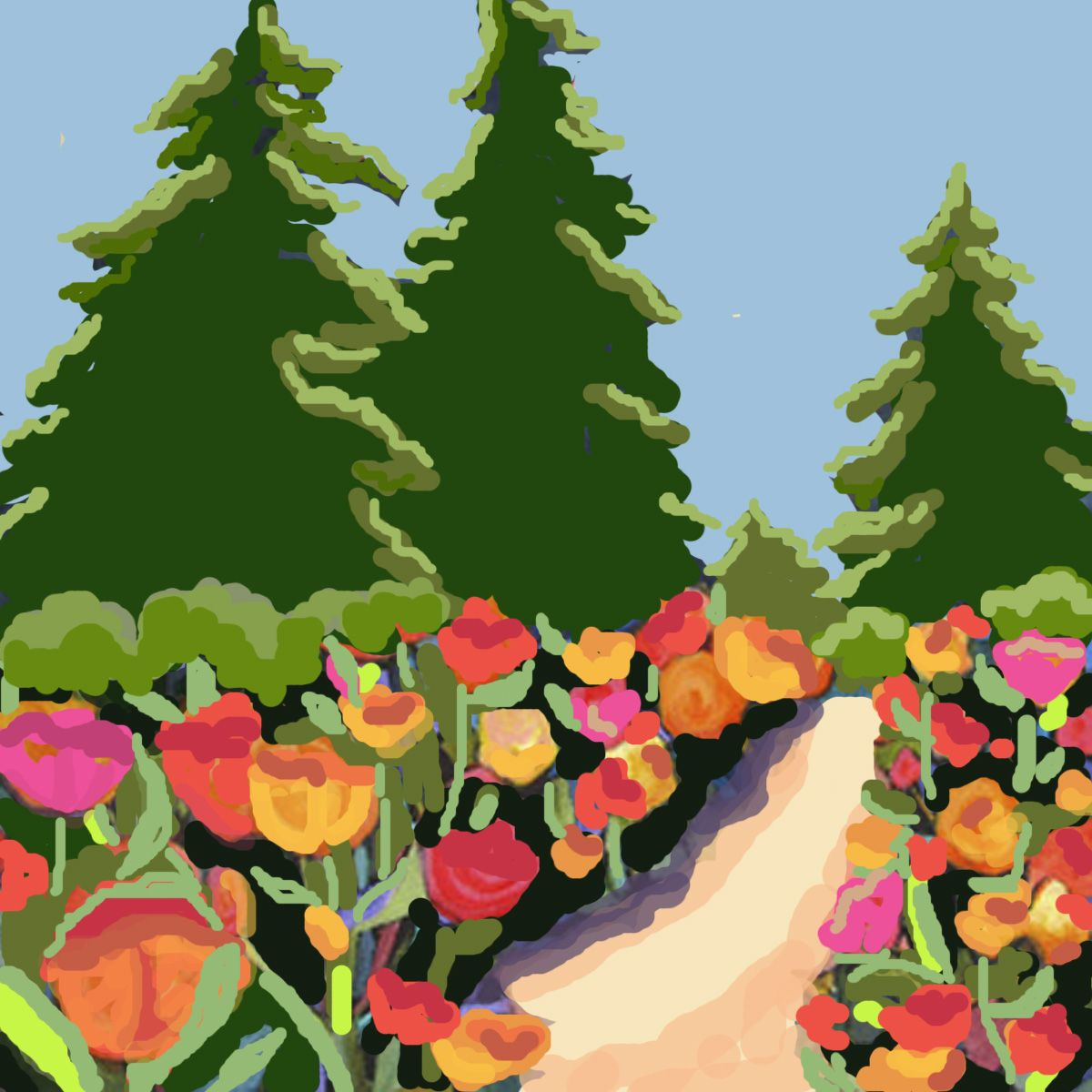 An imaginary path through a field of poppies. Digitally created ...