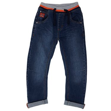 Younger Boys Fashion Ribbed Waistband Denim Jeans