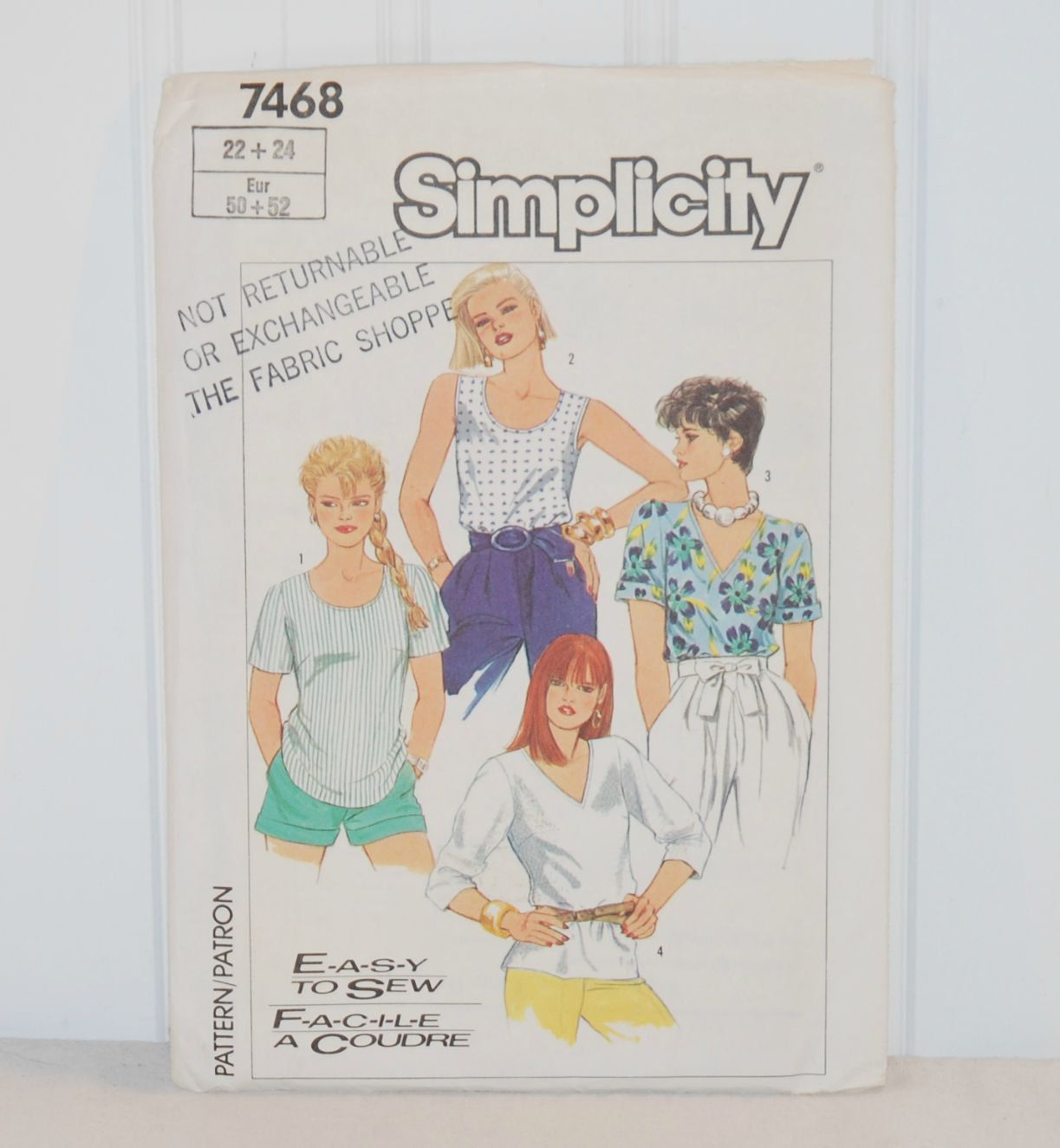 Vintage Simplicity Pattern 7468 (c. 1986) Misses size 22-24, Easy to ...