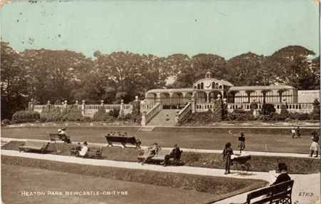 """Postcard of Heaton Park, near Jesmond Dene.  One of the ""Dainty Series"" of postcards.  This one posted in August 1908"""