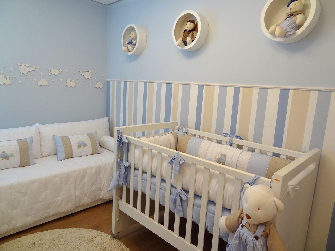Quarto De Beb Azul Com Listras Beb Pinterest Quarto De Beb  -> Parede Da Sala Listrada Azul Marinho