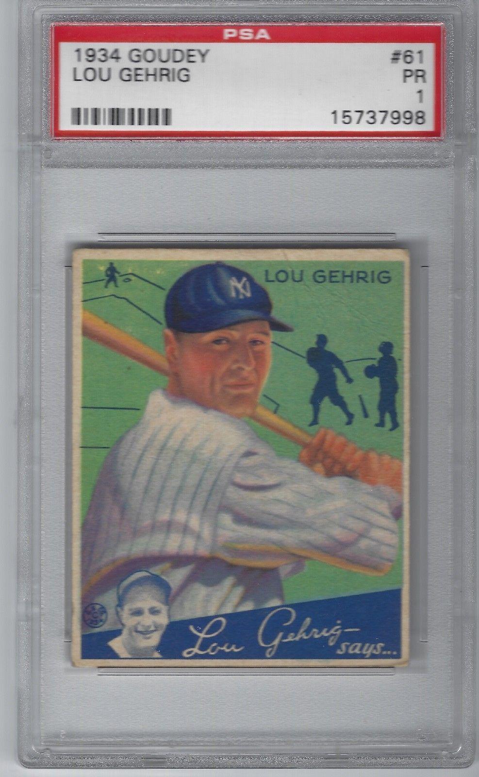 1934 goudey 61 lou gehrig psa 1 lougehrig baseball