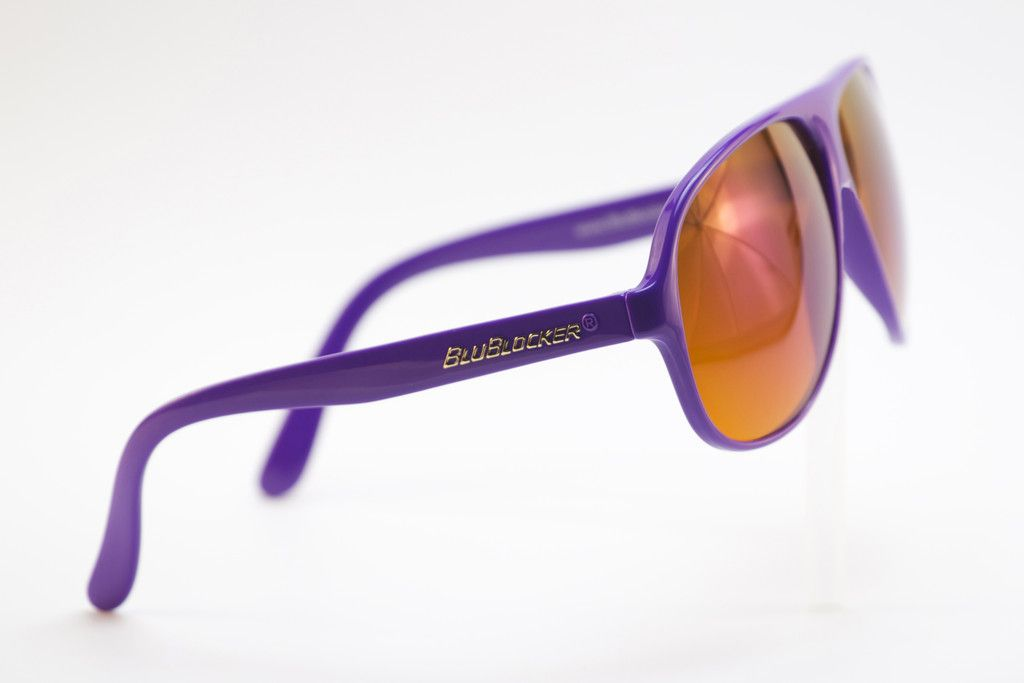 BluBlocker.com — Purple Shiny Frame w/Blue Mirror Aviator BluBlocker