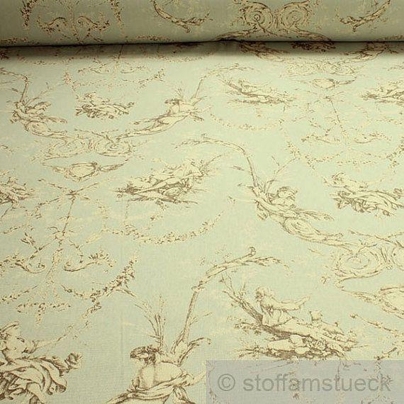 Stoff Baumwolle Rips hellblau Toile de Jouy von stoffamstueck