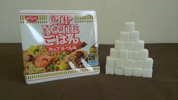 カップヌードルごはん、カップヌードル、ミニに含まれている砂糖の量