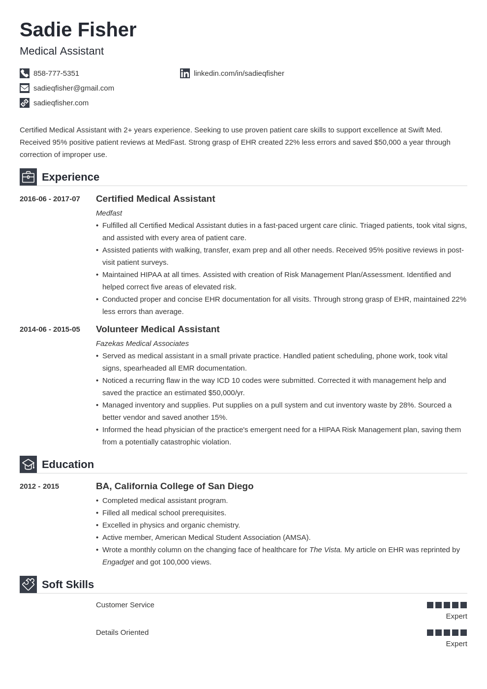 Medical Assistant Resume Template in 2020 Medical