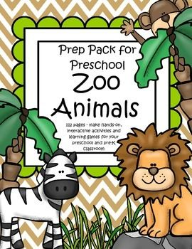 ZOO ANIMALS Math and Literacy Centers and Activities for Preschool