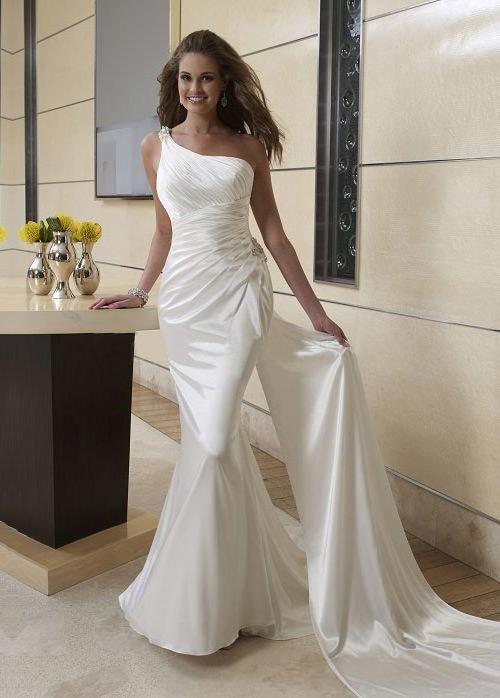 Wedding Dresses Simple, Stunning Elegant Stretch Satin Sheath One Shoulder Neckline Raised Waistline Wedding Dress Midi Bridal Uk