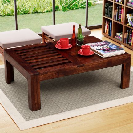 Charm  Sophistication ! Here is an elegant #coffee #table featuring linear #planked #design on one side.