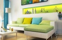 dark blue yellow and green living room - Google Search