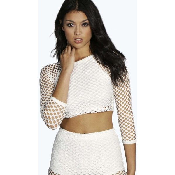 a0fcce8f8037cf Boohoo Una 3 4 Sleeve Large Fishnet Crop Top (£13) ❤ liked on Polyvore  featuring tops