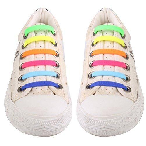PIXNOR 16 Piezas Cordones de Zapatos Silicona de Elástico Silicona Sin Corbata para Adulto - Azul qlqCWJ9jR