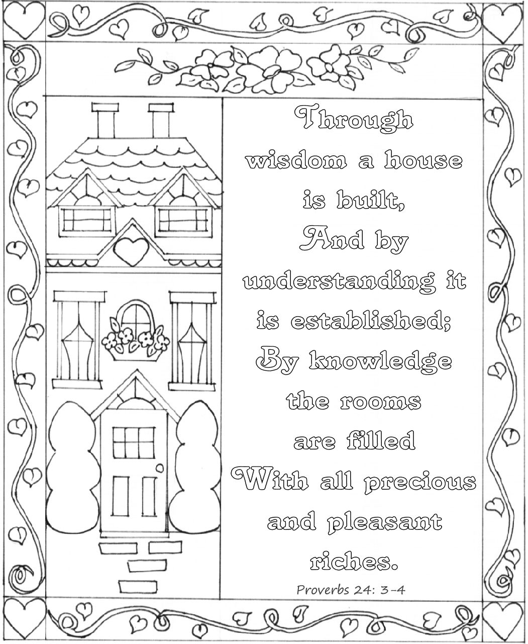 proverbs 24 3 4 bible coloring page nkjv bible coloring pages