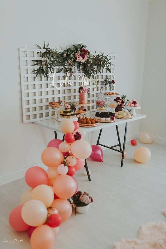 Lola mays  th birthday girls ideas balloon arch pink and orange dessert table party celebration inspiration hooray mag also rh pinterest