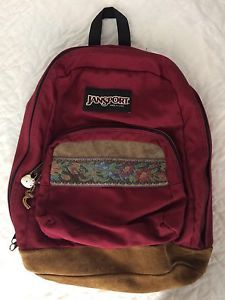 Vtg Jansport Backpack Floral Flowers Daypack Suede Leather Bottom