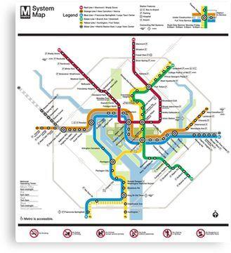 Washington State Subway Map.Washington Metro Map United States Canvas Print In 2019 Products