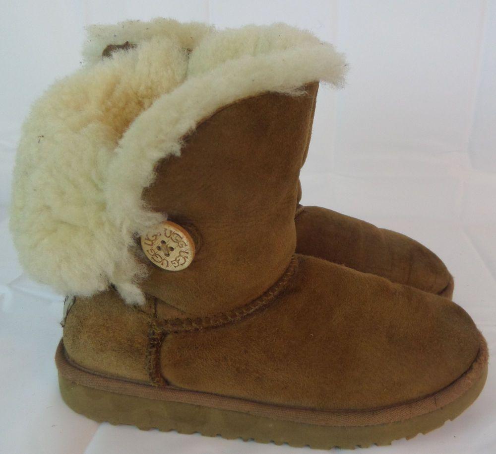 e71a631da3c UGG Boots Girls Brown Leather Size 1 US sn 5991 Bailey Button Kids ...