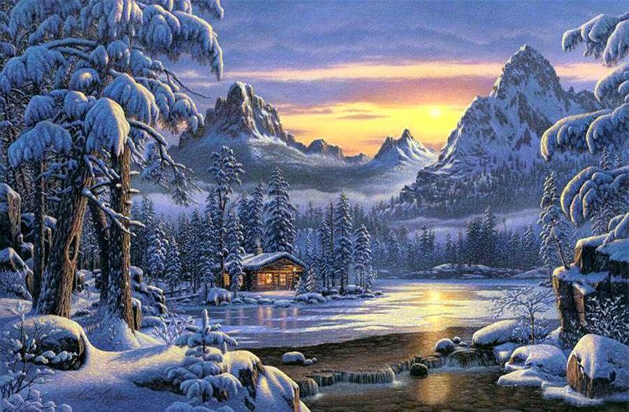 Поздравление крестной, красивый зимний пейзаж картинки анимация