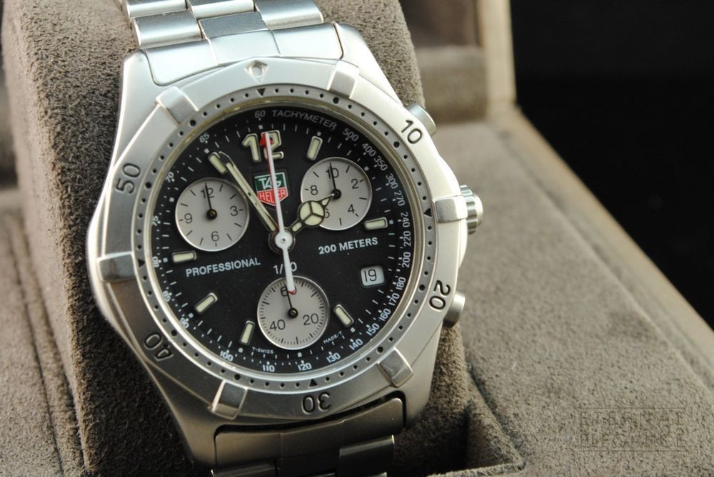 tag heuer professional 200m ck1110 chronograph black dial stainless steel quartz tagheuer. Black Bedroom Furniture Sets. Home Design Ideas