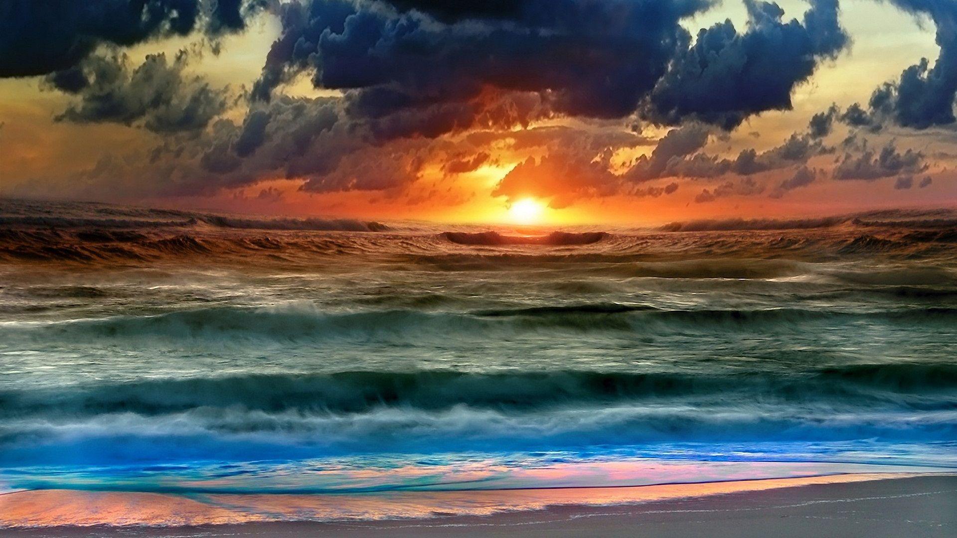 Sunset At Sea Beau Coucher De Soleil Papier Peint Coucher De Soleil Coucher De Soleil
