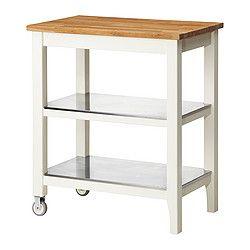 STENSTORP Kitchen cart, white, oak | Kitchen island cart, Island ... | {Küchenwagen ikea 10}