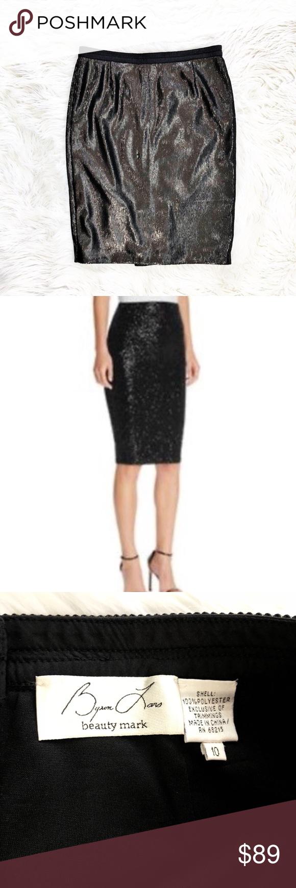 395f7b9aa1 Byron Lars Beauty Mark sequined pencil skirt Stunning solid black sequined  pencil skirt, size 10