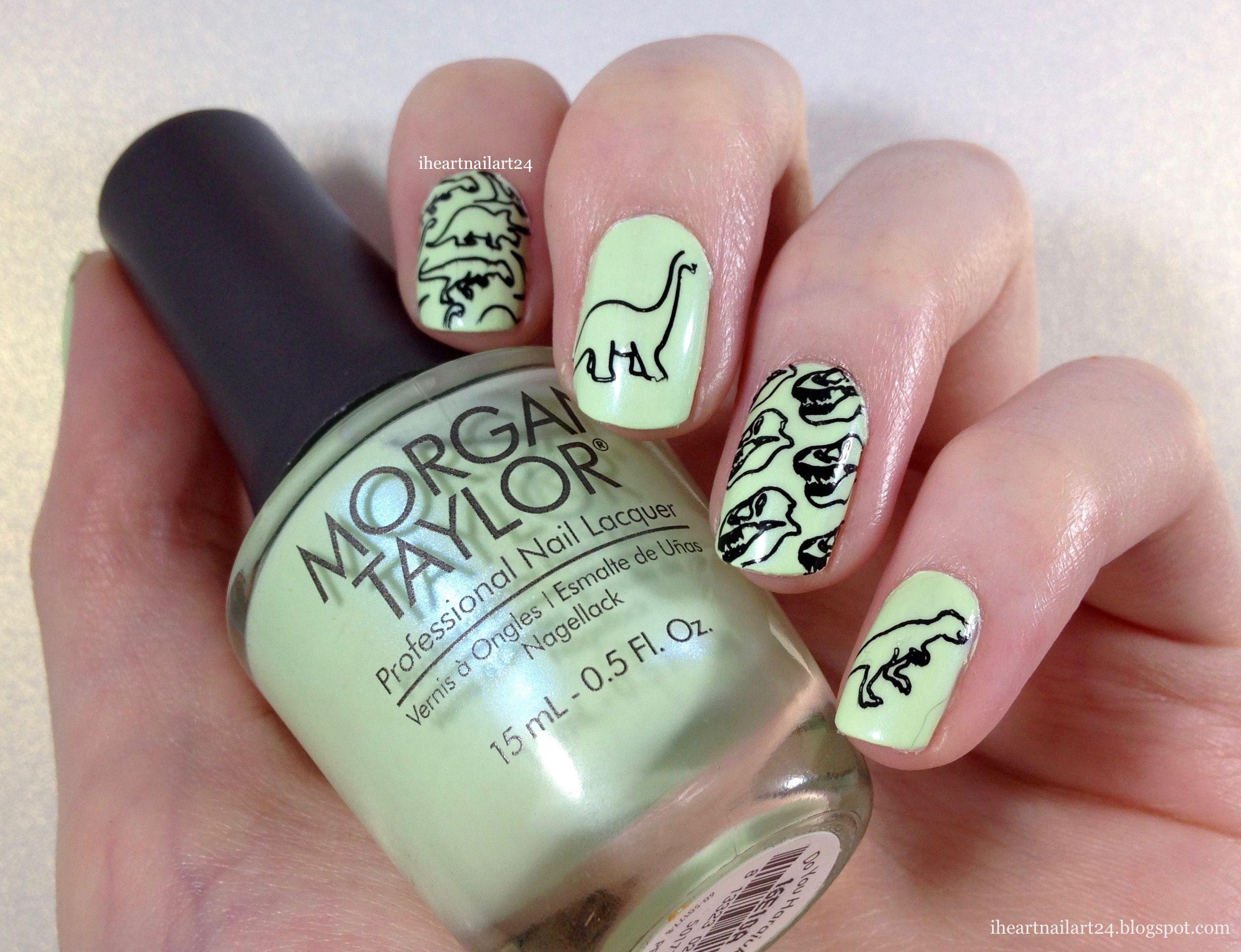 Dinosaur Stamped Nail Art Nails Cute Acrylic Nails Long Square Nails