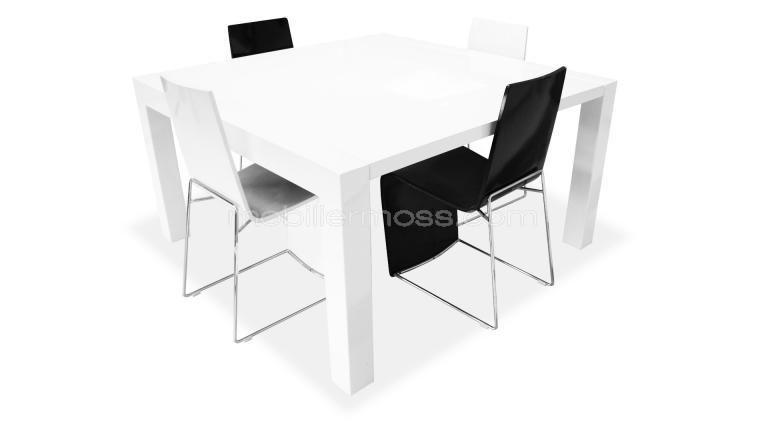 Table Veliki Salle Manger Blanche Laquee Rallonge Ensemble Ferme