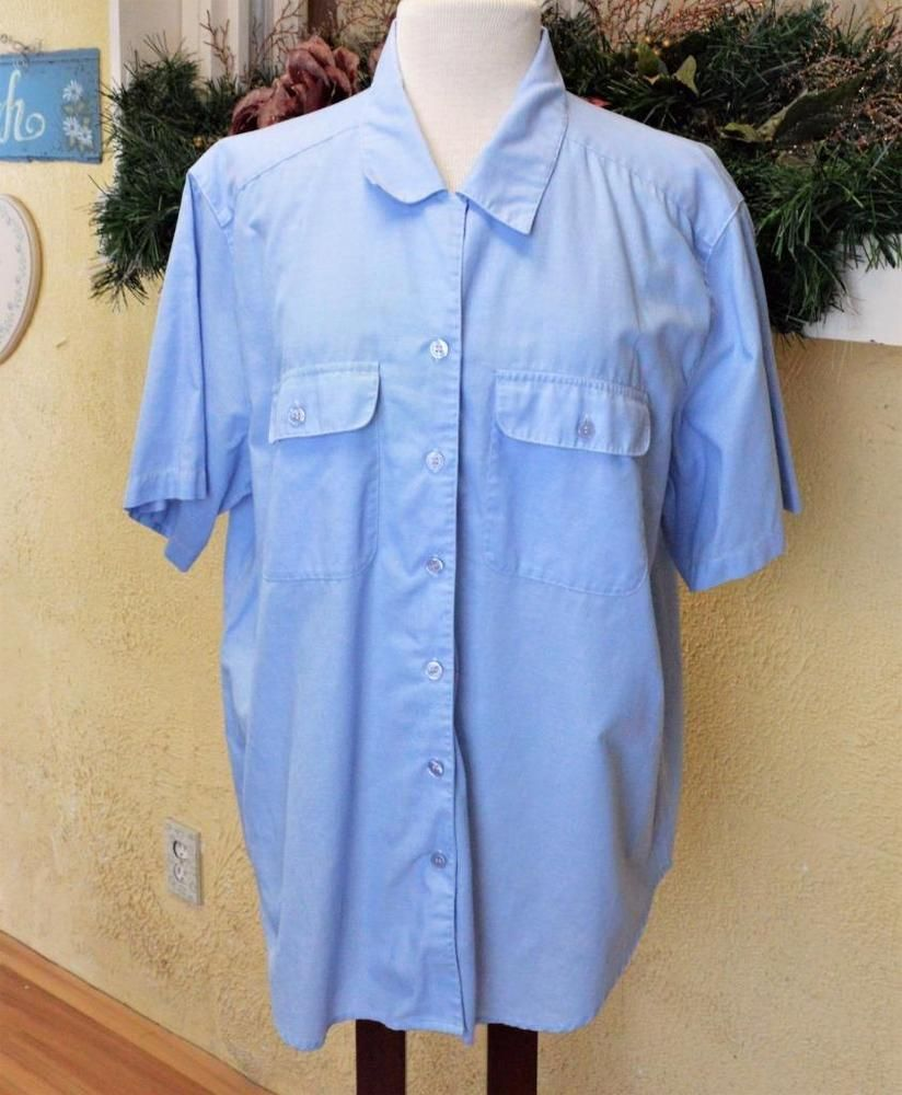 Bon Cabin Creek 20W Plus Shirt Blue Oxford Cloth Short Slv Pockets Spring Weight