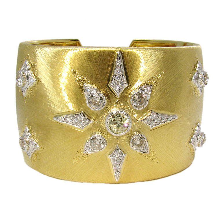 Buccellati Large Gold Diamond Cuff