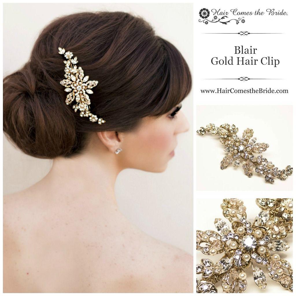 blair gold rhinestone pearl bridal hair clip by hair comes the bride