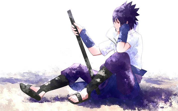 Download wallpapers Sasuke Uchiha, 4k, manga, sword, anime