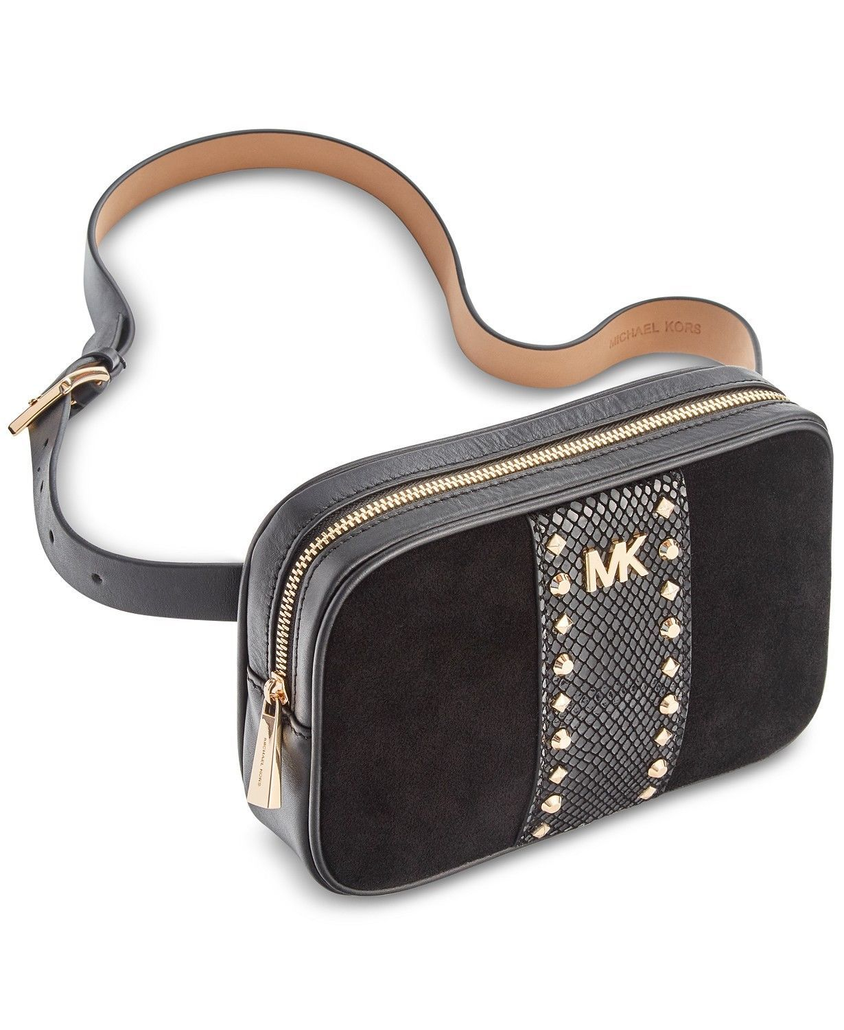NEW Michael Kors Studded Fanny Pack Leather Suede Belt Bag S-XL Size 928b1741c6e77