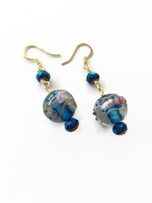 Round Blue Lampwork Glass Bead Earrings Round by JulemiJewelry