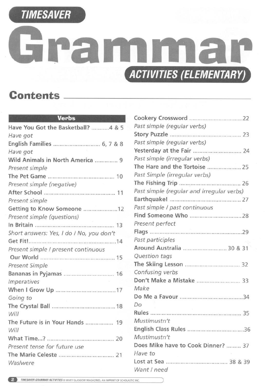 Timesaver Grammar Activities Elementary
