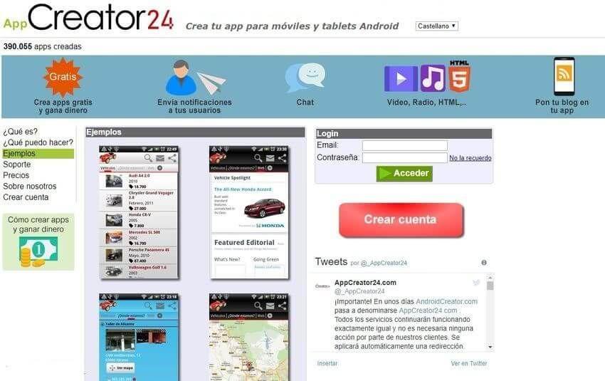 AppCreator24: página gratuita para crear apps Android sin