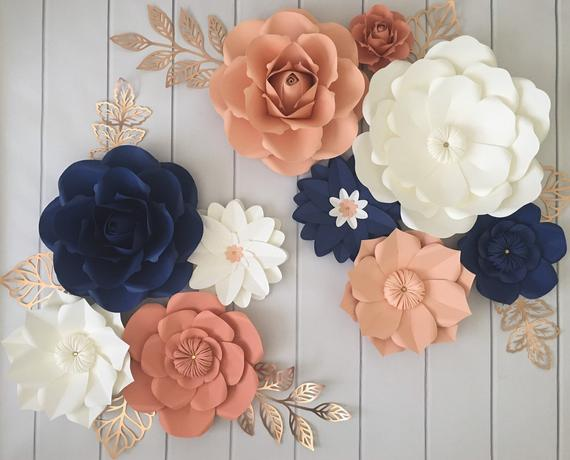 Paper Flowers Wall Decor Floral Nursery Coral Peach Navy Etsy In 2020 Paper Flower Wall Coral Nursery Paper Flower Wall Decor
