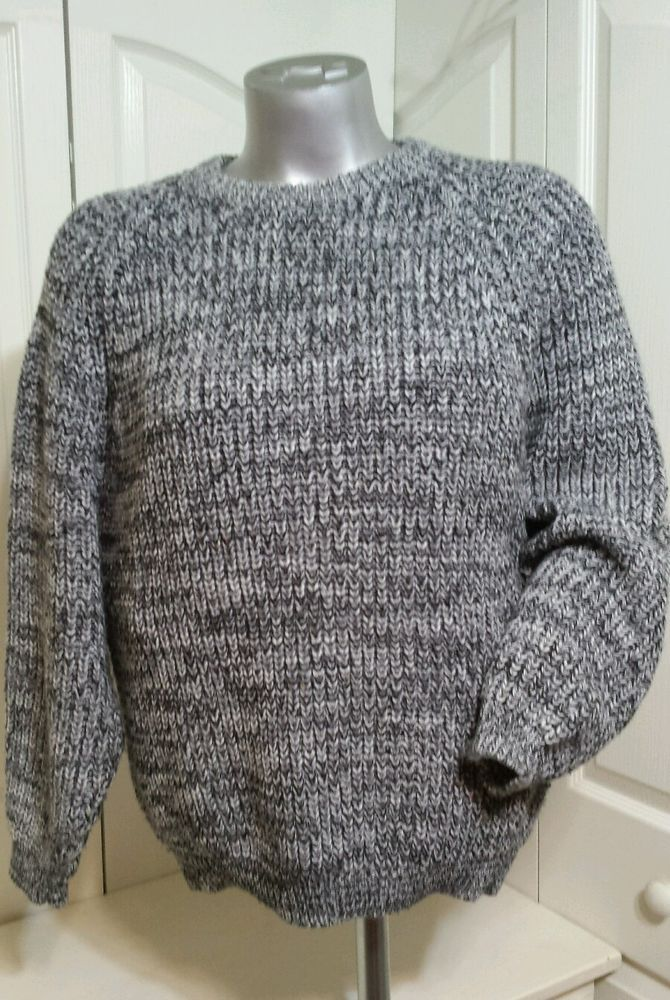 Gabrielle Mens M Knit Sweater Top 100% Acrylic Crewneck Bulky Knit Gray Pullover  | eBay