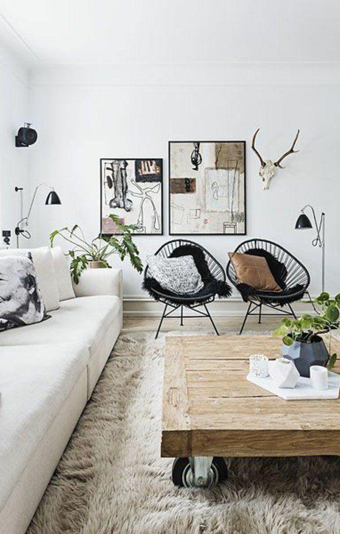 Salon Design Scandinave Chaises En Fer Noir Table Basse Bois Brut Tapis  Fourrure Beige Canape Chic
