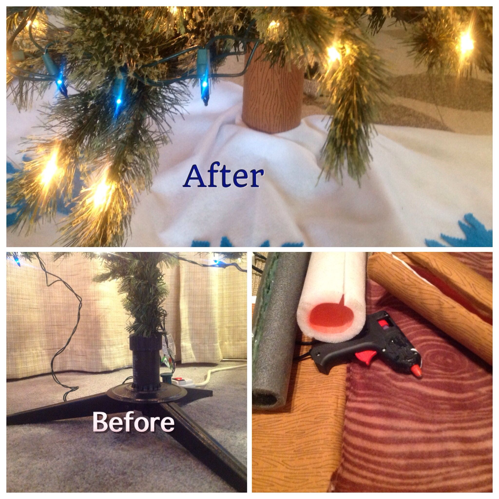 Christmas Tree Makeover Cover Up That Skinny Pole Tree Trunk On