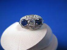 Beautiful Sapphire &  Diamond Vintage Engagement/Right Hand Ring
