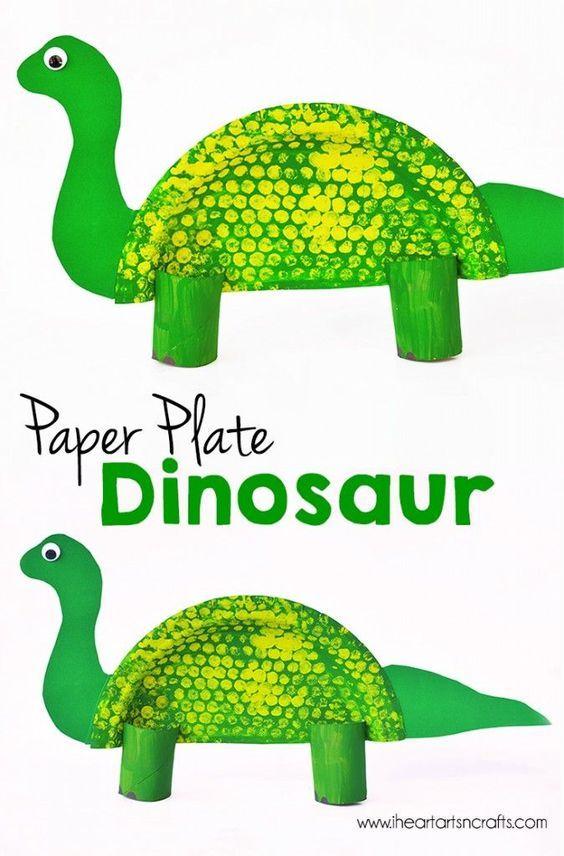 Paper Plate Dinosaur Kids Craft Dinosaur Crafts Paper Plate
