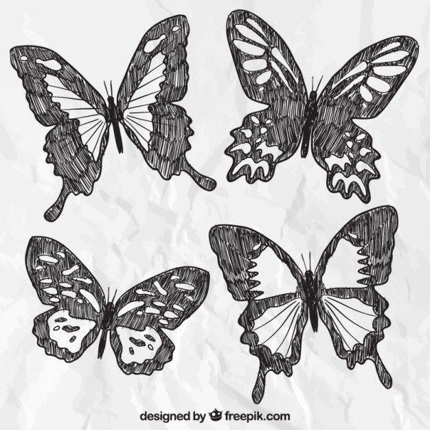 hand getekende vlinders Gratis Vector